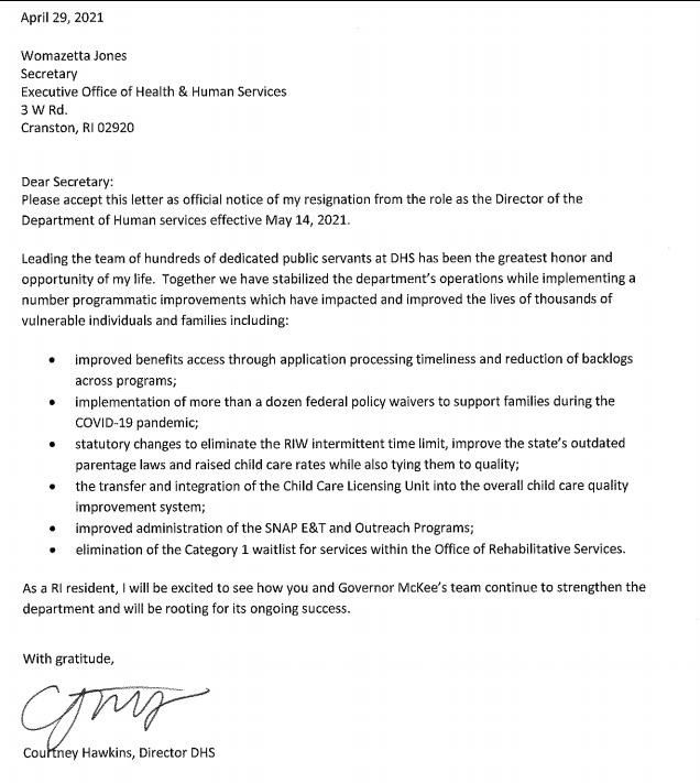 Courtney Hawkins Resigns